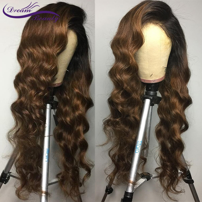 H6e40b67b05c74bf9a8ae42cf1a58008e2 Ombre Brown Wig Brazilian Remy Human Hair Wigs Pre Plucked Natural Hairline Wavy 13x4 Lace Front Wigs Baby Hair Dream Beauty