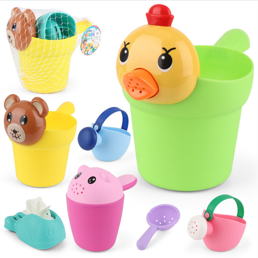 4Pcs/ Kids Bath Play Set Silicone Soft Baby Beach Sand Toys Kids Bath Play Set Party Cart Ducks Bucket Sand Molds Tool Water Toy