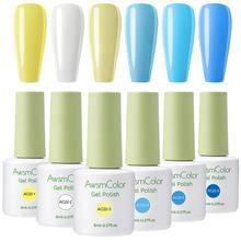 Gels Nail-Polish-Set Yellow Awsmcolor-Gel White Blue 6-Colors 8ml Daisy Soak-Off Duke