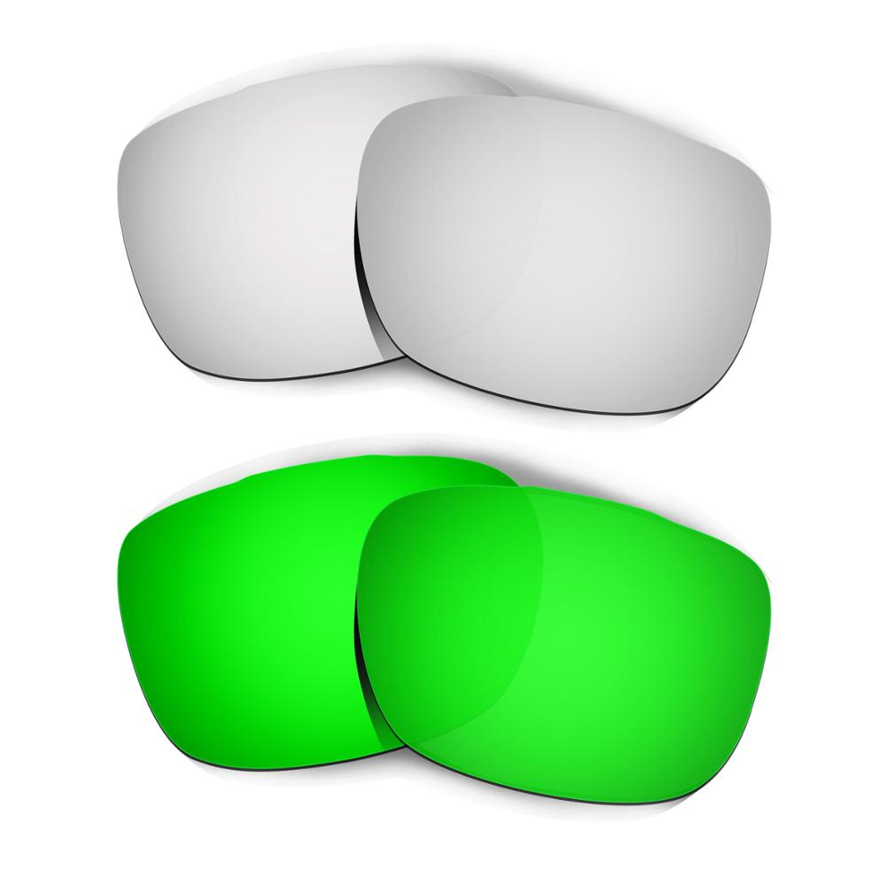 HKUCO For TwoFace Sunglasses Replacement Polarized Lenses 2 Pairs - Silver & Green