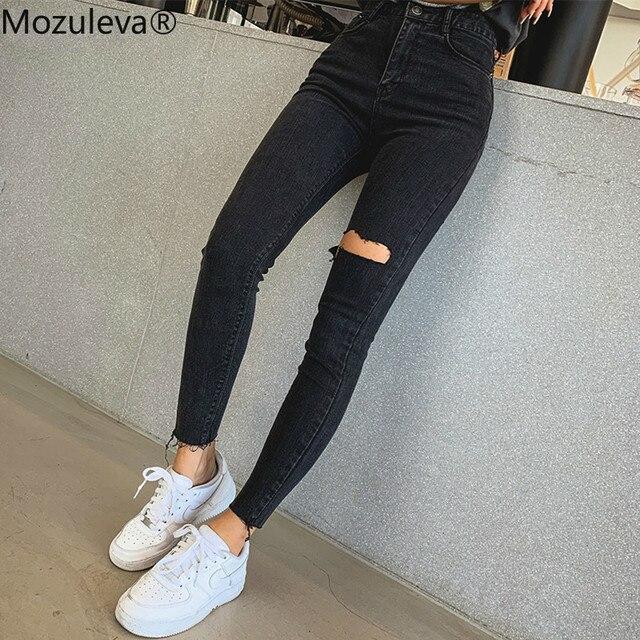 Mozuleva 2019 Sexy de alta borla cintura vaqueros pantalones vaqueros con agujeros Mujer Pantalones lápiz mujer Skinny pantalones vaqueros negros 1