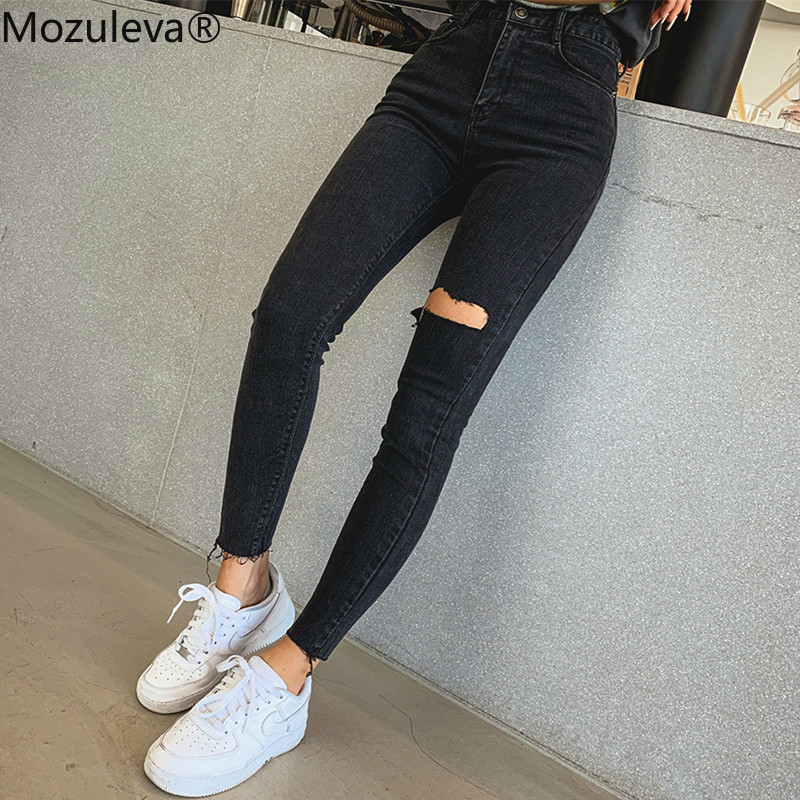 Mozuleva 2019  Sexy High Waist Tassel Ripped Holes Denim Pants Female Trousers Pencil Jeans Women Skinny Pants Black Jeans
