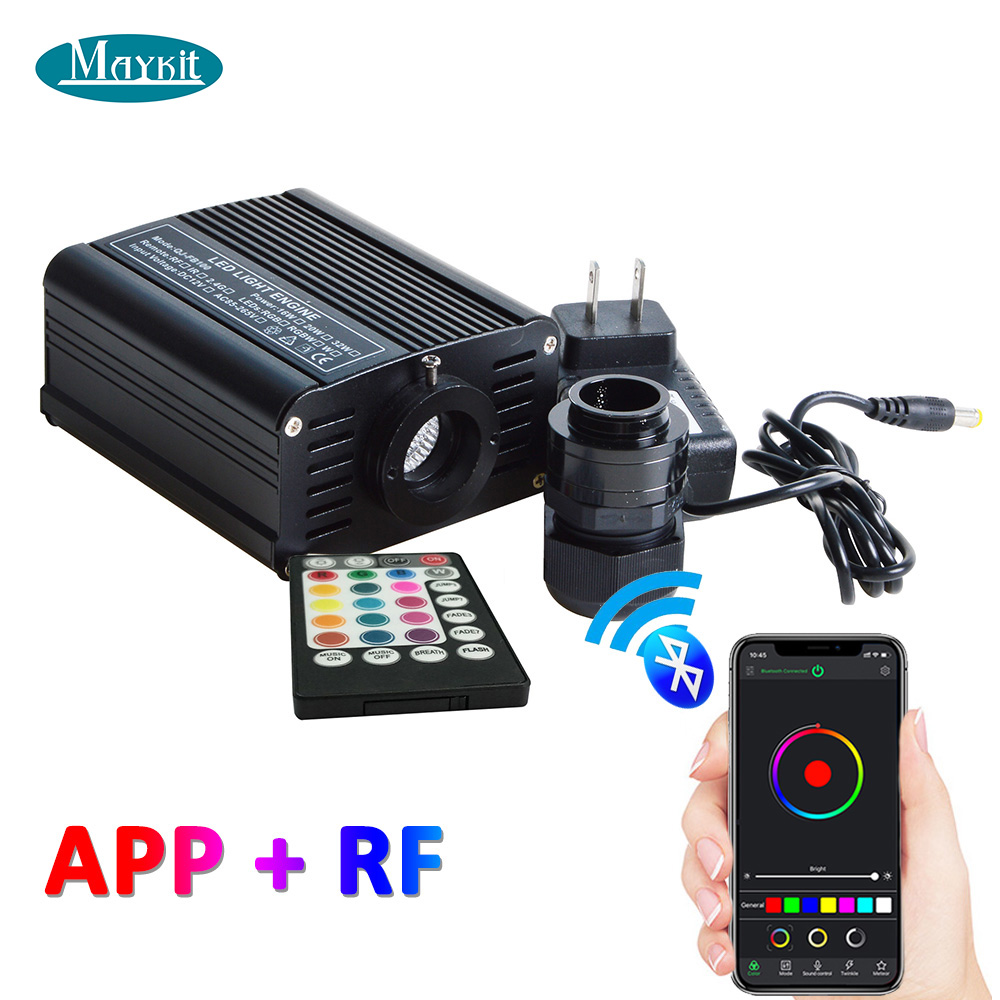 Maykit 16W RGBW LED Fiber Optic Light Engine RF Remote Controller APP Bluetooth Touch Wall Remote 20mm Dia Connector Transformer
