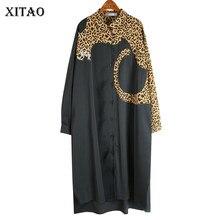XITAO-vestido de punto estampado de leopardo para mujer, vestido Irregular de manga larga, suelto, de talla grande, de gasa, WJ1018