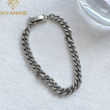 XIYANIKE 925 Sterling Silver NEW Arrival Tank Chain Bracelet Thai Silver Jewelry Hip-hop Retro Simple Exquisite Gift браслет
