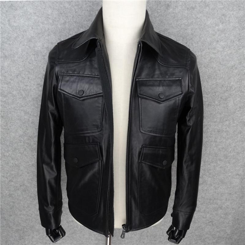 Business Genuine Sheepskin Leather Mens Jacket Luxury Designer Slim Turn-down Collar Male Coat Black Zip Veste Homme Plus Size