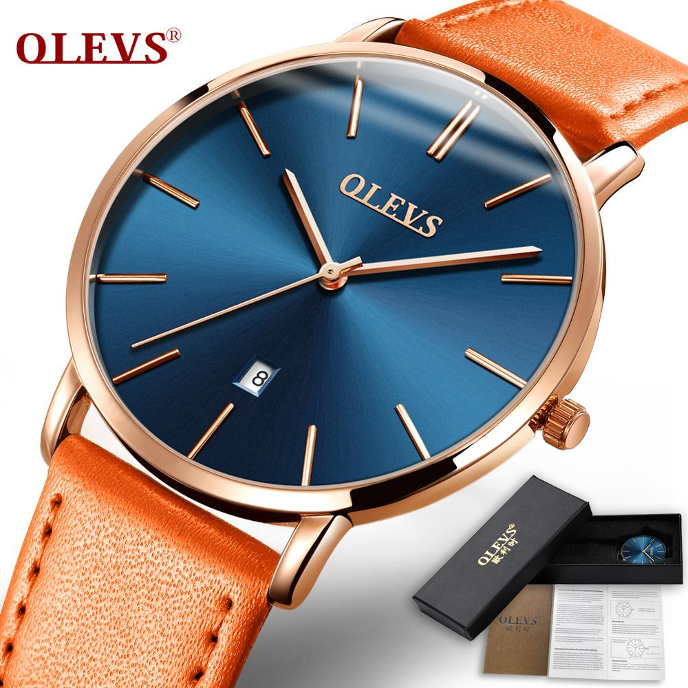 OLEVS Watches Men Fashion Sport Stainless Steel Ultra-thin Case Leather Band Watch Quartz Business Wristwatch