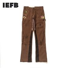 IEFB Men's Retro Splash Ink Stitching Men's Overalls Trousers Streetwear Flare Pants 2021 New Hip Hop Cargo Pants 2021 9Y7896