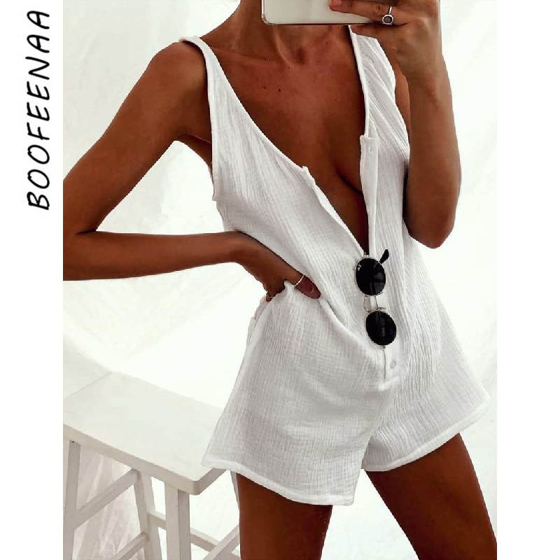 BOOFEENAA White Cotton Linen Button Up Sexy Romper Shorts Casual Backless Jumpsuit Women Summer 2020 Fashion Playsuit C34-AZ58