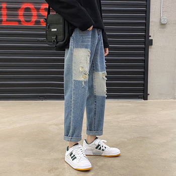 Ripped Straight Jeans Men's Fashion Washed Retro Casual Ripped Jeans Men Streetwear Wild Loose Hip Hop Denim Pants Mens M-2XL straight jeans men s fashion washed casual retro ripped jeans pants men streetwear wild loose hip hop ripped denim trousers mens