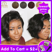 Bob-Wigs Human-Hair-Short Remy-Hair 613-Blonde Lace-Front Pixie-Cut Black Ombre-Color
