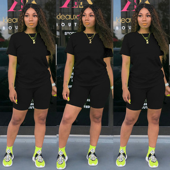 Two-piece Solid Color Women's Clothing. Short-sleeved Crew Neck T-shirt and Tight-fitting Shorts. Simple Style Tracksuit Outfit 5