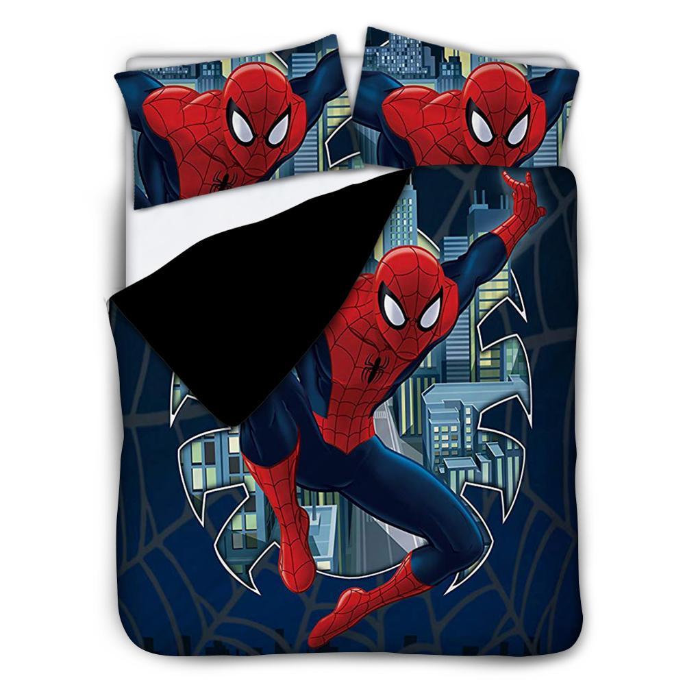 Kids 3Pcs Bedding Set Super Hero Spiderman Bed Set And Pillow Cover Children Duvet Cover Sheet Cartoon Character Boy's Bedspread