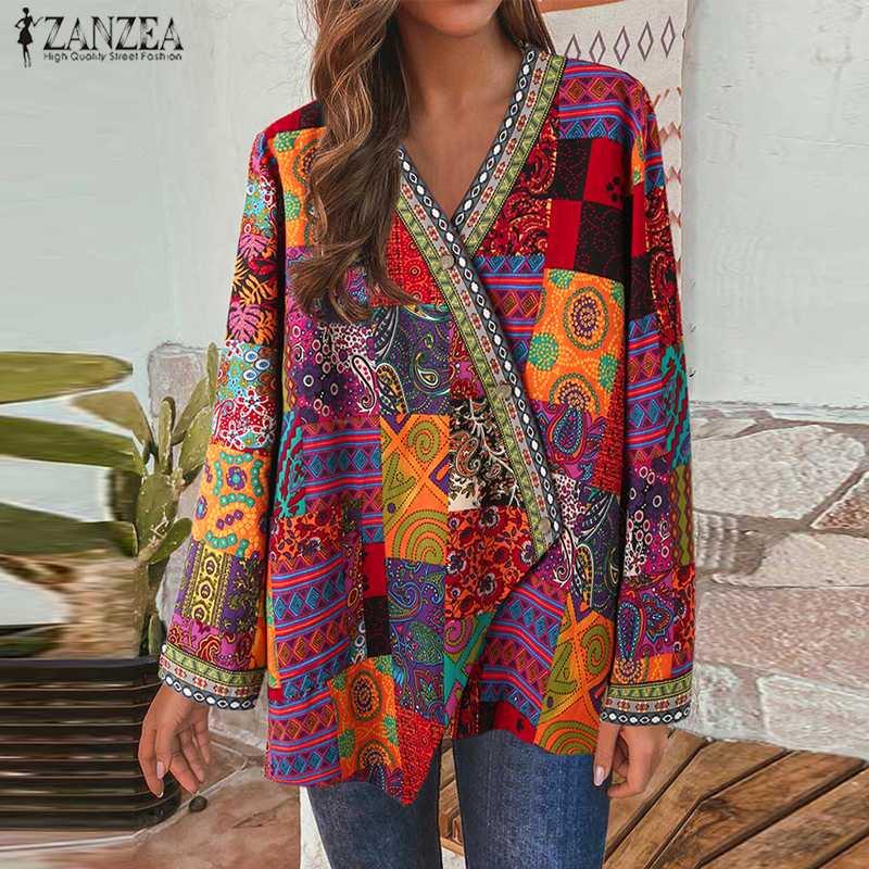 1171.68руб. 49% СКИДКА|Женское пальто с этническим принтом ZANZEA, осенняя Повседневная Верхняя одежда с длинным рукавом и пуговицами размера плюс, Топ 7|Куртки|   | АлиЭкспресс
