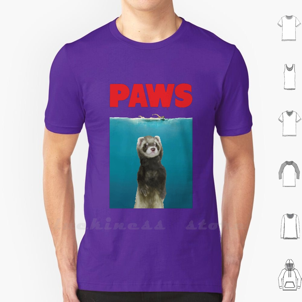 Paws Ferret Funny Jaws <font><b>Parody</b></font> T <font><b>Shirt</b></font> Cotton Ferret Paw Jaws Shark Ferret Lovers Pet Animal Giant Cute Funny <font><b>Parody</b></font> Silly Cool image