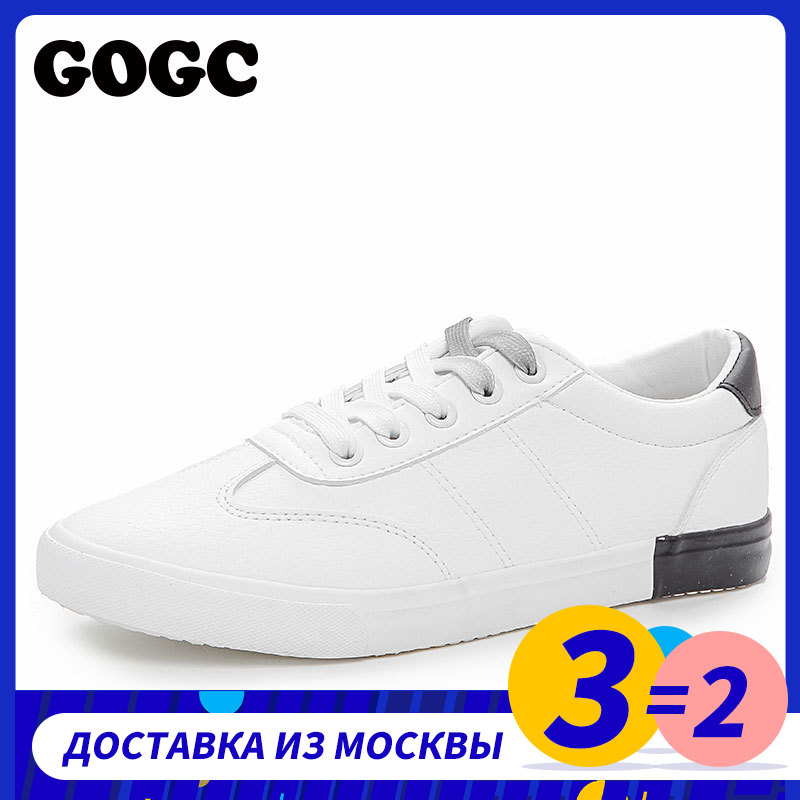GOGC 2019 Woman Spring Summer Sneakers Vulcanized Women Flats White Sneakers Women Flat Leather Casual Shoes Daily Footwear 789