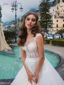 Image 5 - Julia Kui lüks A line düğün elbisesi prenses gelin elbise Sequins kristaller mahkemesi tren