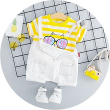 Cute Summer Casual Tops+Bib Pants Baby's Sets Infant Baby Girls Striped Cartoon Cat Printed Long Sleeve T-shirt Hot Selling New