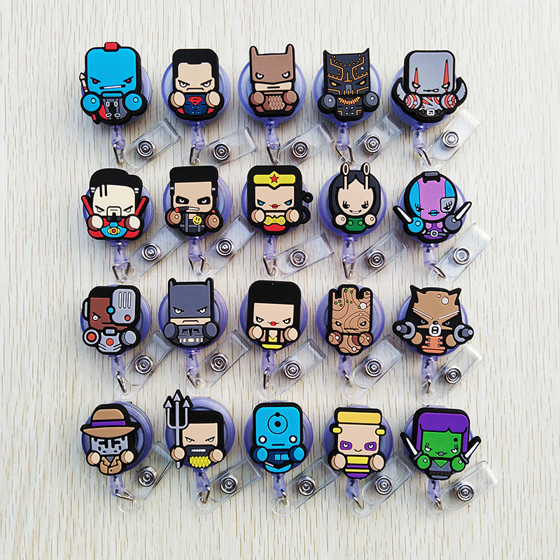1 Pcs/lot New Silica Gel Cartoon Animal Design Retractable Pull Badge Reel ID Name Tag Card Nurse Badge Holder Cute Kids Reel