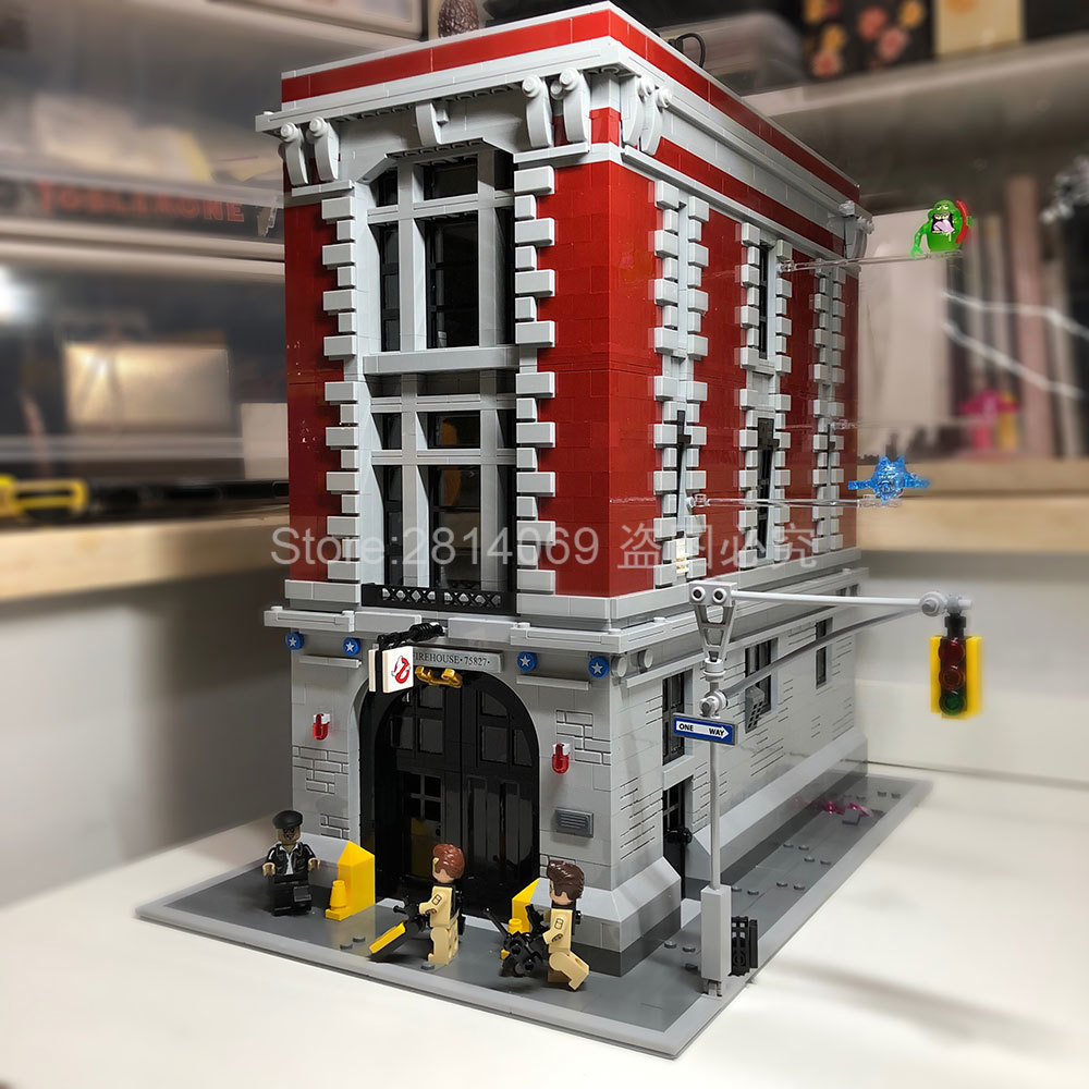 16001 Creator 4705Pcs City Street Series Ghostbusters Firehouse Headquarters Building Block Bricks Toys Compatible With 75827