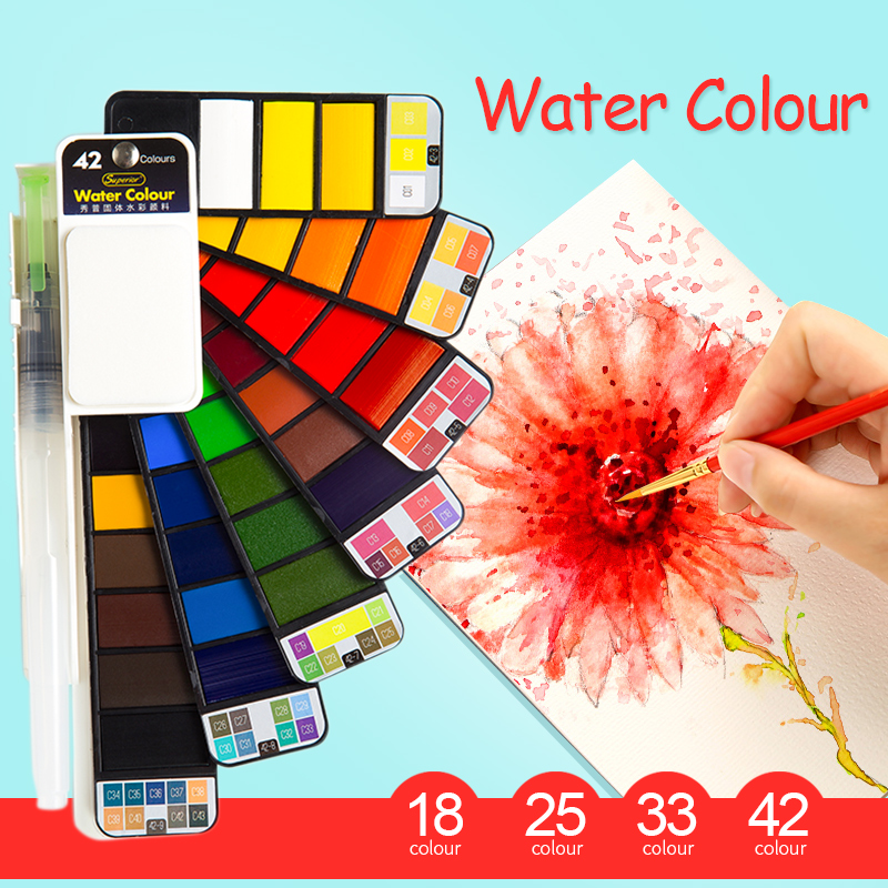 18/25/33/42 top farbe solide aquarell stift set faltbare durchführung aquarell kreative aquarell farbe zeichnung