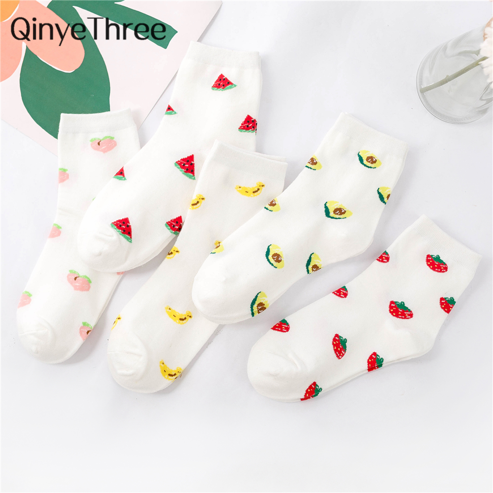 Cute Cartoon Fruit Avocado Banana Strawberry Peach Watermelon Girls Kawaii Socks Meias Korean Harajuku Summer Spring Happy Socks