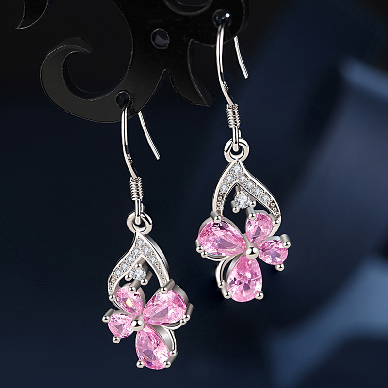 Viwisfy Vintage Jewelry Wedding Crystal Pink Butterfly Flower 925 Sterling Silver Drop Earrings For Women VW21206