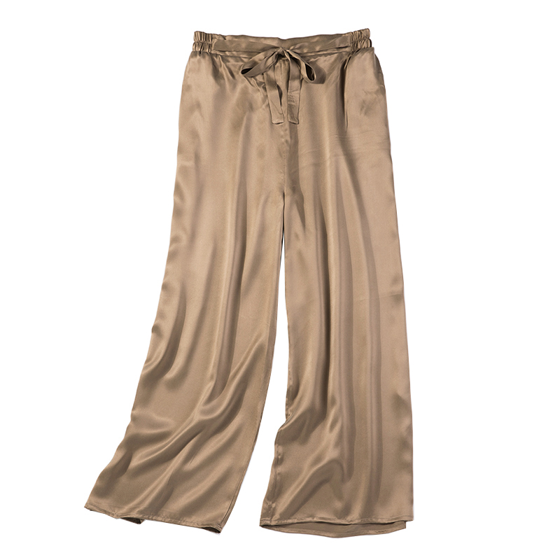 Vintage Women Summer Spring Natural Silk Pants Silk Loose Style Trousers Work Wear OL Fashion Holiday Coffee wide leg Pants
