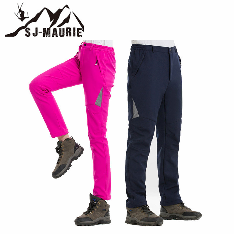 Outdoor Women Ski Pants Men Hiking Camping Skiing Pants Softshell Fleece Thermal Trekking Windproof Waterproof Pants For Women