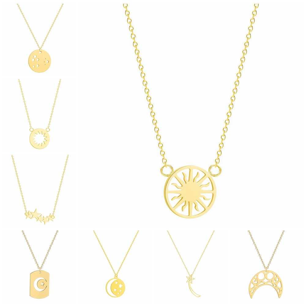 Collares para mujeres geométricos COLLAR COLGANTE de sol, estrella, Luna 3 colores oro y Rosa oro y plata joyería de moda de Color