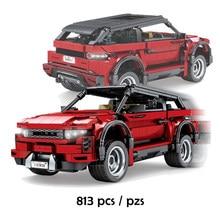 SEMBO 813 Uds SUV coche deportivo rojo Vehículo de bloques de construcción creador de coche de carreras de expertos ladrillos Set niños DIY juguetes regalo de los niños