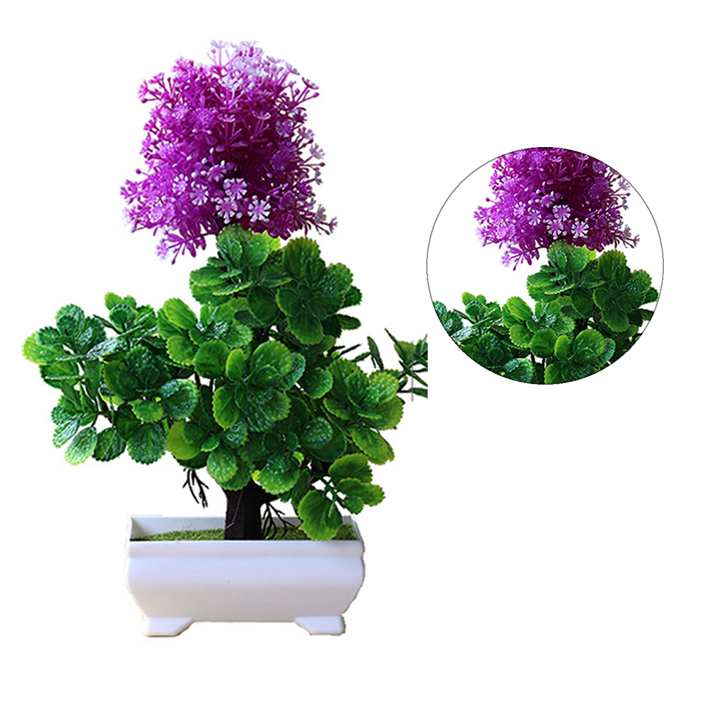 Artificial Simulation Bonsai Flower Ball Pot Fake Potted Plant Home Table Decor