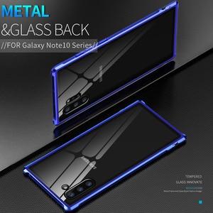 Image 1 - Armure métal pare chocs étui pour Samsung Galaxy Note 10 10 Plus étui 9H verre trempé couverture arrière rigide pour Samsung Note 10 Plus Coque