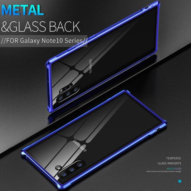 Armure métal pare chocs étui pour Samsung Galaxy Note 10 10 Plus étui 9H verre trempé couverture arrière rigide pour Samsung Note 10 Plus Coque