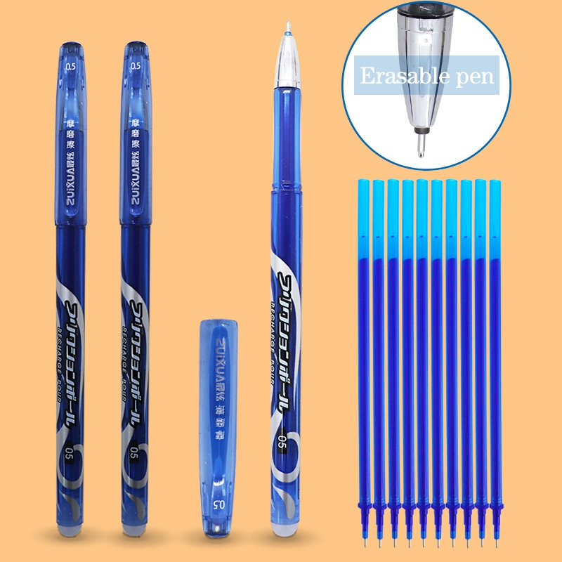 12Pcs/Set Erasable Refill 0.5mm Blue/black Ink Washable Handle Erasable Gel Pen For School Supplies Student Writing Stationery
