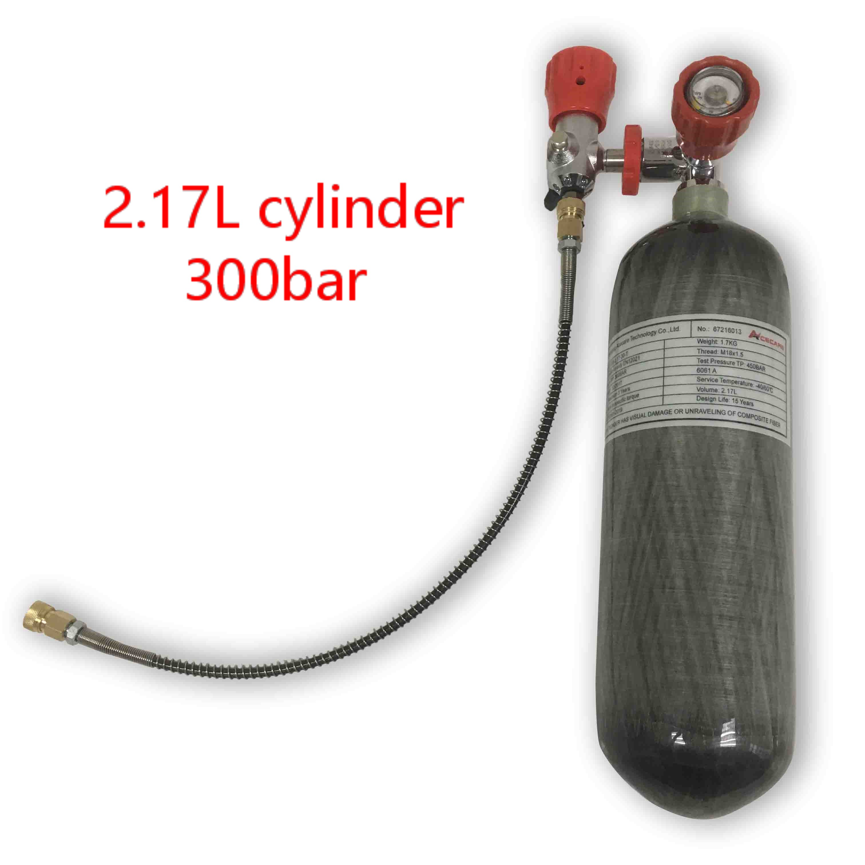 AC1217101 Cylinder Scuba Pcp Air Rifle 2.17L 300Bar Carbon Fiber Paintball Tank Compressed Air Gun Pcp Airforce Condor Acecare