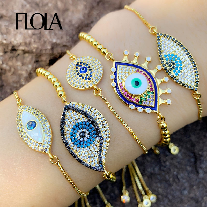 FLOLA turco ojo malvado pulsera para mujer CZ Arco Iris piedra tenis pulsera 24K oro ojo malvado joyería pulsera de ojo turco brtb77