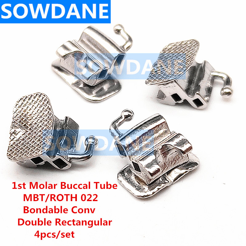 3bags/5bags Dental Orthodontic Buccal Tube 1st Molar Double Slot Dbl Rect Conv Convertible Bondable ROTH/MBT Mesh Base Materials