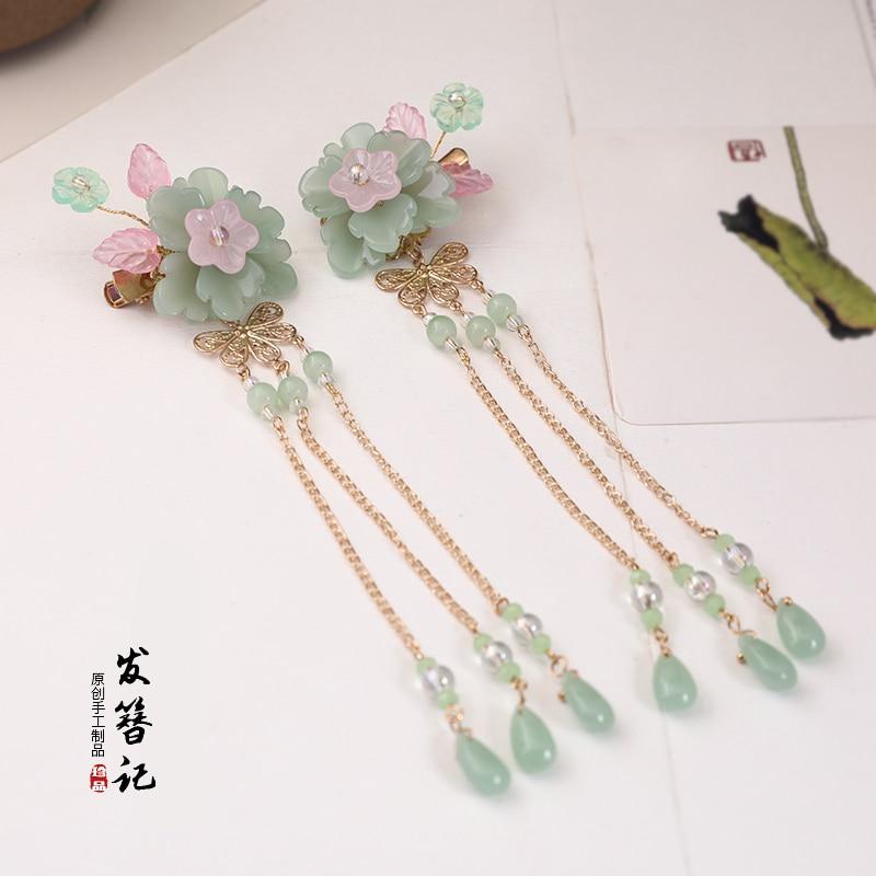 Han Chinese Clothing Costume Headdress Step Shake Bob Antiquity Long Tassel Flower Hairpin Decorated Hair Accessories