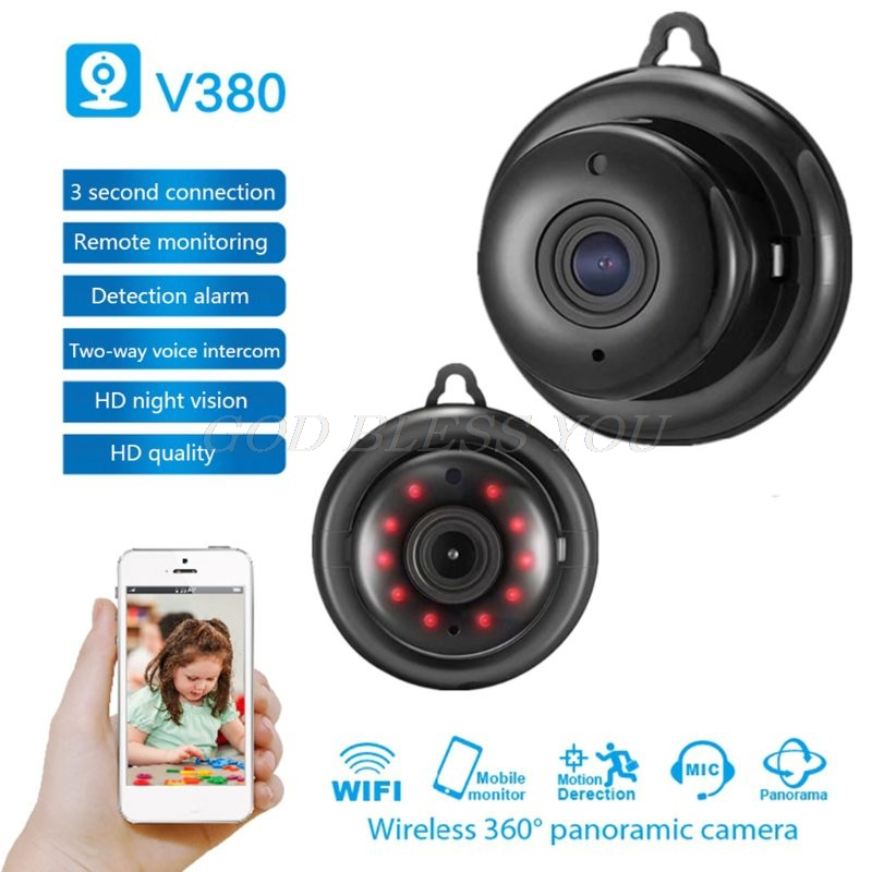 V380 Wifi 1080P Camera Wireless CCTV Infrared Night Vision Motion Detectection 1.44mm 3D 360 Degree CS Fisheys Lens No Blind