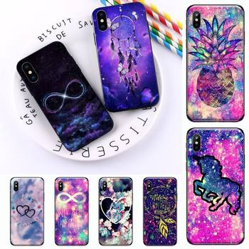 infinity on purple Shiny Phone Case for iPhone 11 12 pro XS MAX 8 7 6 6S Plus X 5S SE 2020 XR image