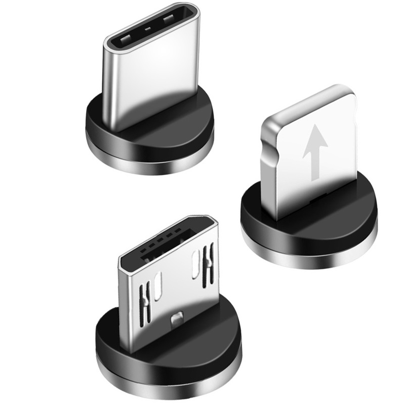 Cabo micro usb magnético para iphone, samsung e android, cabo micro usb tipo c de carregamento rápido, cabo magnético de 1m cabo de fio