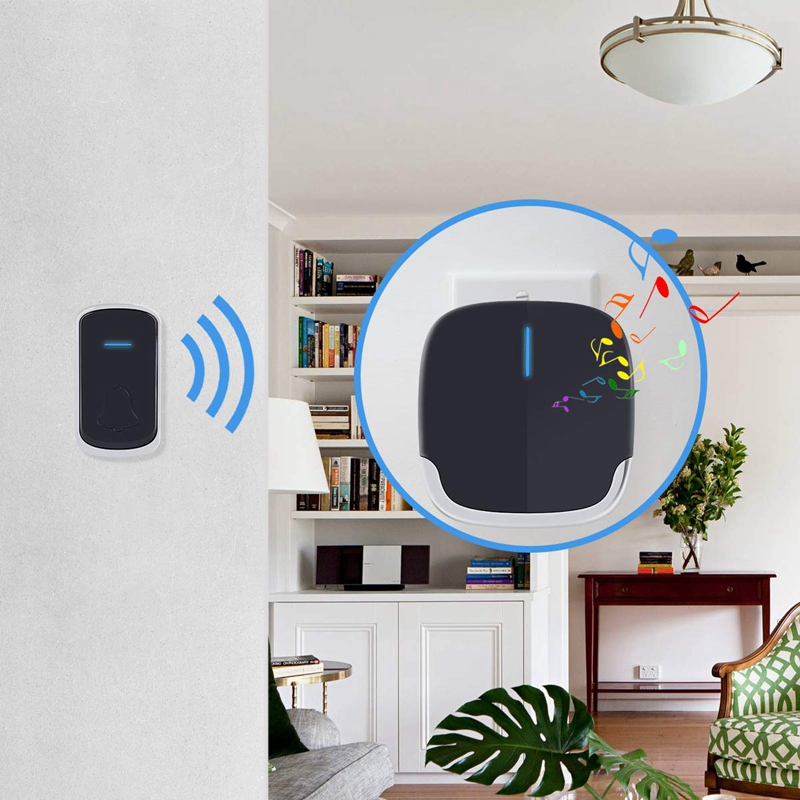 Wireless Doorbell Waterproof Battery Operated With 1 Transmitter And 2 Plugin Receivers Operating Over Feet Range Chord Quality
