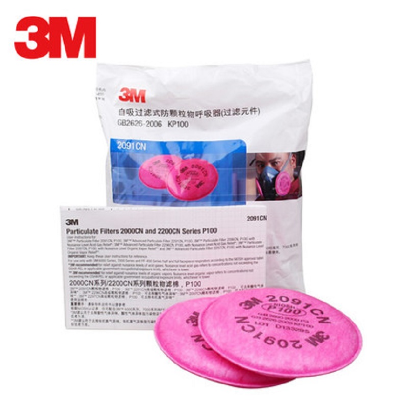 3M Original 2091 P100 Particle Filter Replacement 3M Series Gas Mask Respirator Paint Spray Industrial Chemcial Dust Smoke Mask