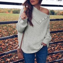 Women Sweaters 2019 Loose Knitted Autumn Winter Clothes Long Sleeve Pullover One Shoulder Button Solid Sweater Knitted Blouse(China)