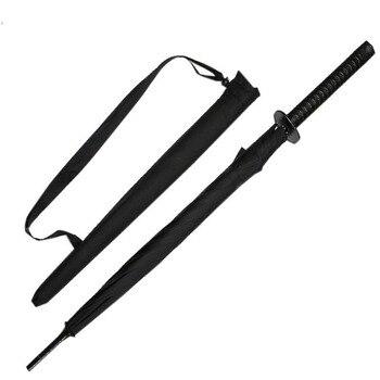Elegant Black Japanese Samurai Ninja Sword Umbrella Sun Straight 8 Bones