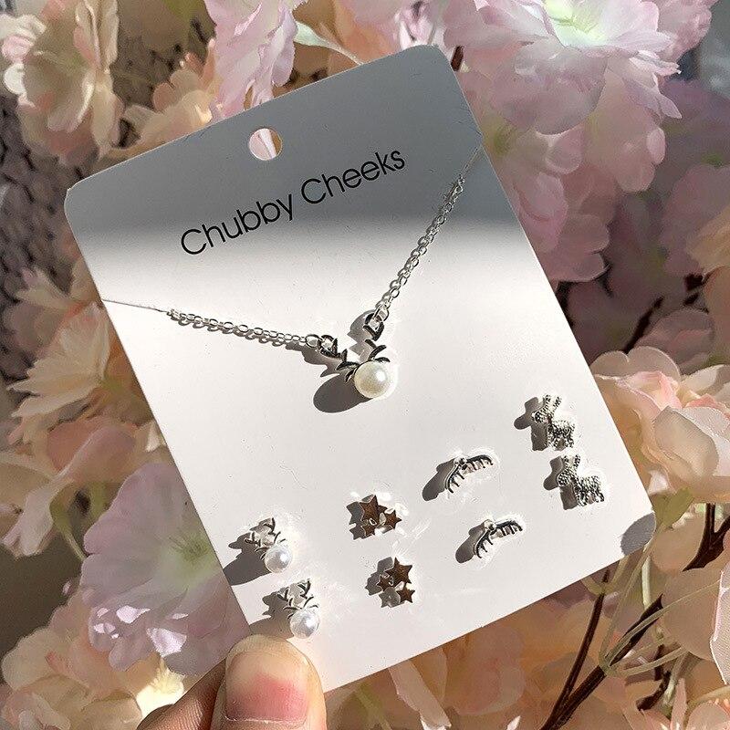 Модные корейские серьги-гвоздики, имитация жемчуга, пентаграмма, олень, рыбий хвост, крест, снежинка, сердце, серьги, колье, женские подарки, ювелирные изделия - Окраска металла: ED007308