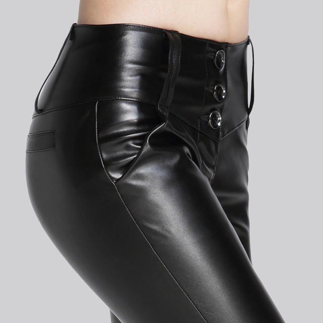 Automne hiver femmes Faux cuir Leggings Slim Skinny épais polaire taille haute crayon pantalon femmes Stretch Long Pu Leggins Mujer