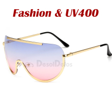 New Oversized Shield Sunglasses Big Frame Alloy One Piece Se