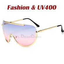 New Oversized Shield Sunglasses Big Frame Alloy One Piece Se